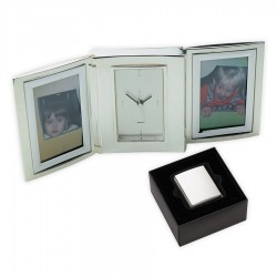 Nickel Plated Double Photo Frame with Alarm Clock