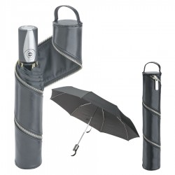 Umbrella In Leather Zip Case