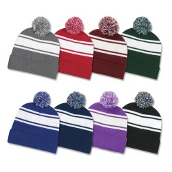 Two Tone Knit Pom Cuff Beanie