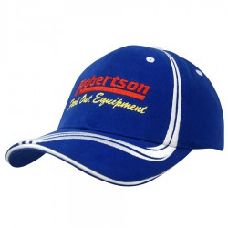 Brushed Heavy Cotton Cap with Waving Stripes on Crown & Peak