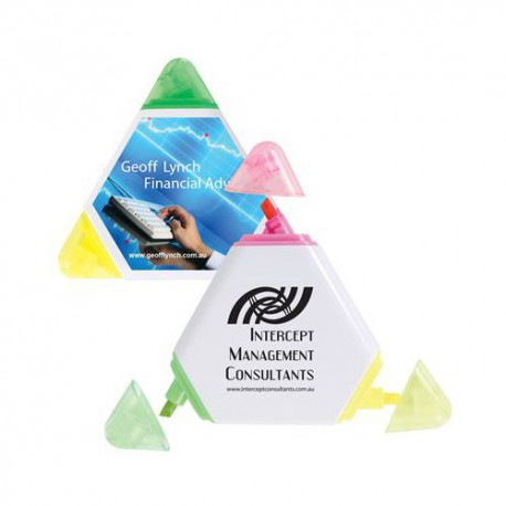 White Triangular Highlight Marker with Transparent Caps