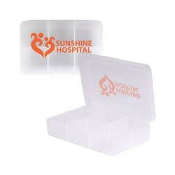 Clear Rectangular 6 Compartment Pill Box