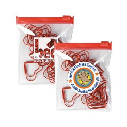 Red Heart Paperclips In PVC Zipper Pouch