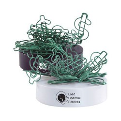 Green Dollar Sign Shaped Paperclips On Paperweight Magnetic Base