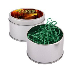 Green Dollar Paperclips in Silver Round Tin