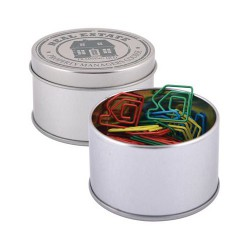 Assorted Colour House Paperclips in Silver Round Tin