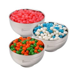 Corporate Colour Mini Jelly Beans in Stainless Steel Bowl