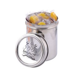 Corporate Colour Lollipops in 12cm Stainless Steel Canister