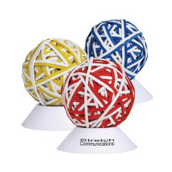 Custom Colour Rubberband Ball with White Stand