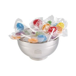 Assorted Colour Lollipops in Stainless Steel Bowl