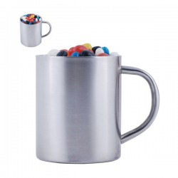 Assorted Colour Maxi Jelly Beans in Double Wall Stainless Steel Barrel Mug