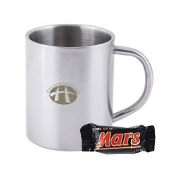 1 x Mini Mars Bar in Double Wall Stainless Steel Coloured Barrel Mug