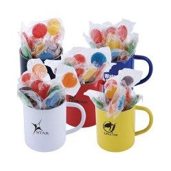 Assorted Colour Lollipops in Double Wall Stainless Steel Coloured Barrel Mug