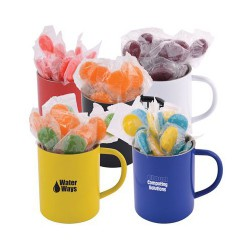 Corporate Colour Lollipops in Double Wall Stainless Steel Coloured Barrel Mug