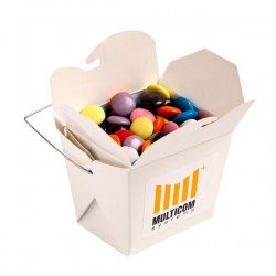 White Cardboard Noodle Box Filled with Choc Beans Smartie Look Alike 100G (Corporate Colours)