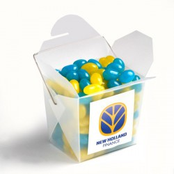 Frosted Pp Noodle Box Filled with Jelly Beans 100G (Mixed Colours or Corporate Colours)